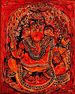 Painting - Ornamental Ganesha-7 by Anand Swaroop Manchiraju