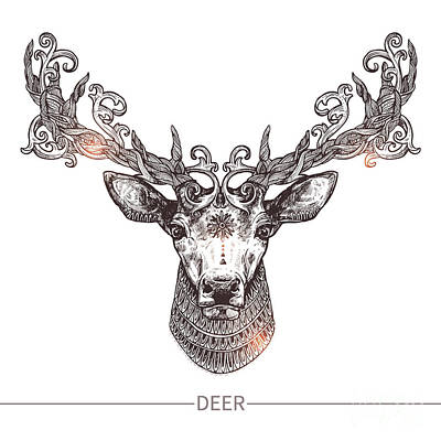 Tribal Wall Art - Digital Art - Ornamental Tattoo Deer Head. Highly by Alex Rockheart
