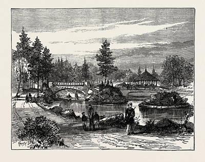 Water Play Drawing - Ornamental Water, Beaumont Park, Huddersfield by English School