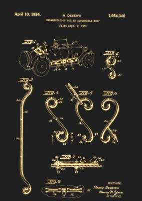 Ornamentation For An Automobile Body Patent 1934 Art Print by Mountain Dreams