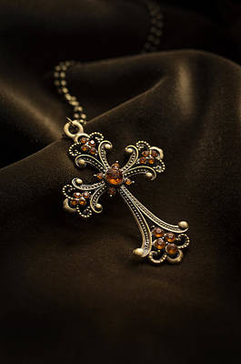 Photograph - Ornamented Cross With Orange Gems by Jaroslaw Blaminsky