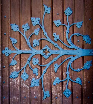 Blue Buildings Photograph - Ornate Church Door Hinge by Mr Doomits