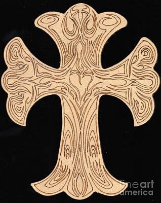Pyrography On Wood Drawing - Ornate Cross Abstract Design Pyrography by Ray B
