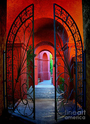Ornate Gate To Red Archway Art Print