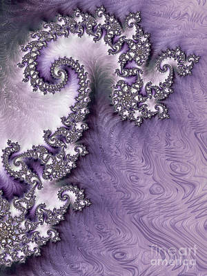 Fine Curved Digital Art - Ornate Lavender Fractal Abstract One  by Heidi Smith