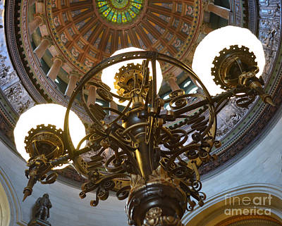 Photograph - Ornate Lighting - Sprngfield Illinois Capitol by Luther Fine Art