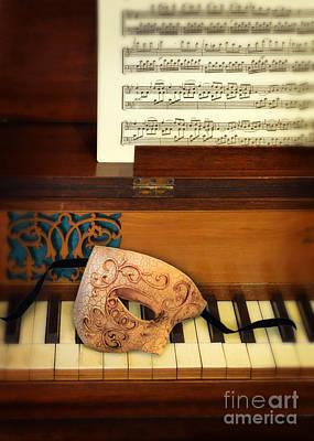 Old Sheet Music Photograph - Ornate Mask On Piano Keys by Jill Battaglia