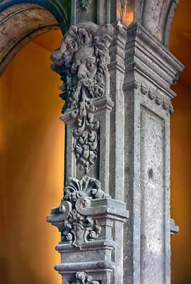 Ornate Mexican Stone Column Art Print by Lynn Palmer