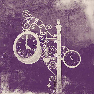 Ornate Vintage Clock Silhouette In Pink Art Print by Angela Bonilla