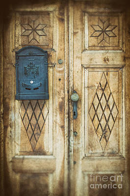 Photograph - Ornate Wooden Door With Blue Mailbox by Silvia Ganora
