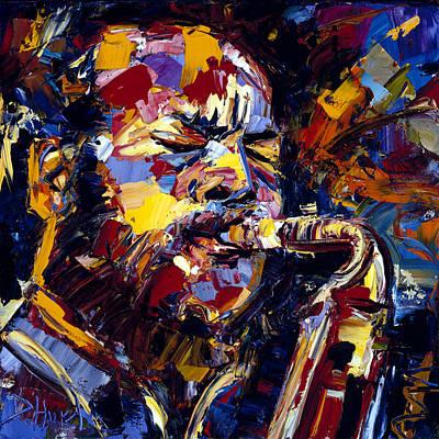 Saxophone Painting - Ornette Coleman Jazz Faces Series by Debra Hurd