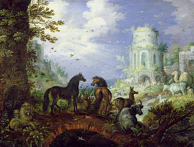 Arcadia Painting - Orpheus Charming The Animals, 1626 by Roelandt Jacobsz. Savery