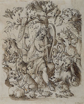 Brown Swiss Drawing - Orpheus Charming The Animals Josias Murer II by Litz Collection