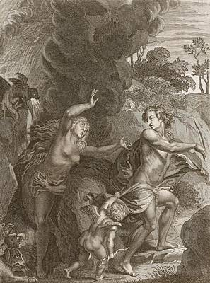 Violin Drawing - Orpheus, Leading Eurydice Out Of Hell by Bernard Picart