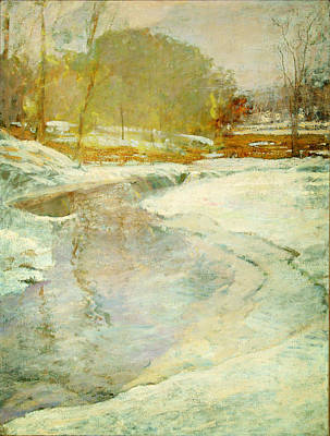 1943 Painting - Orrin Sheldon Parsons 1866 1943 Stream In Winter  Bronx River by MotionAge Designs