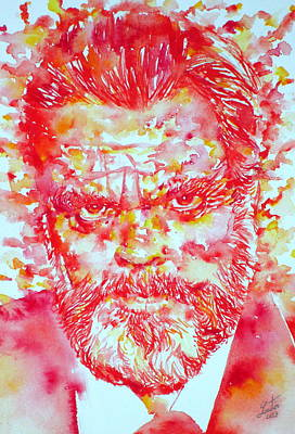 Orson Welles Watercolor Portrait Print by Fabrizio Cassetta