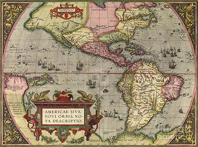 America The Continent Photograph - Ortelius's Map Of The New World, 1603 by Middle Temple Library