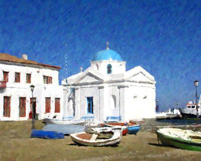 Orthodox Church Mykonos Island Greece Art Print by Dan Chavez