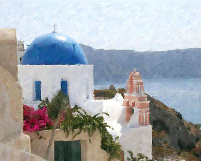 Orthodox Church Santorini Island Greece Art Print by Dan Chavez