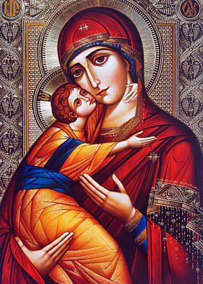 Orthodox Mary And Jesus Art Print by Munir Alawi