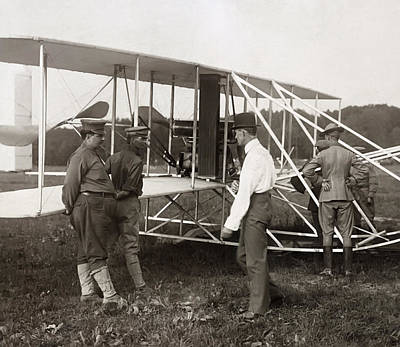 Fort Meyers Photograph - Orville Wright And Aeroplane  1908 by Daniel Hagerman