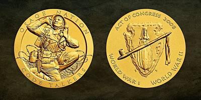 Osage Nation Code Talkers Tribe Bronze Medal Art Art Print