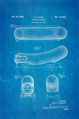 Oscar Mayer Wienermobile Patent Art 1954 Blueprint Art Print by Ian Monk