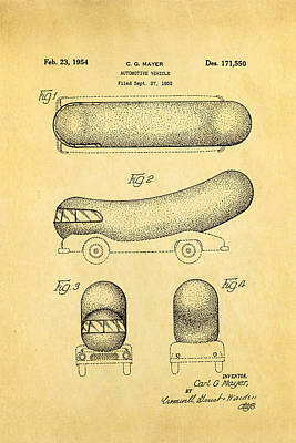 Oscar Mayer Wienermobile Patent Art 1954 Art Print by Ian Monk