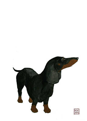 Weiner Dog Painting - Oscar by Richard Williamson