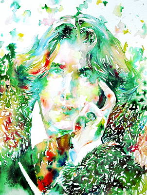 Oscar Wilde Watercolor Portrait.2 Print by Fabrizio Cassetta