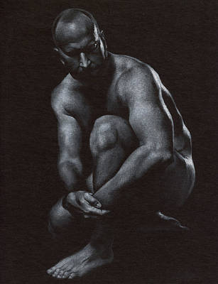 Male Nudes Drawing - Oscuro 10 by Chris Lopez