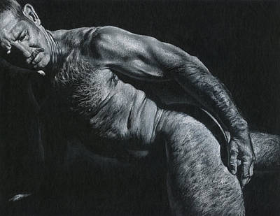 Male Nudes Drawing - Oscuro 16 by Chris Lopez