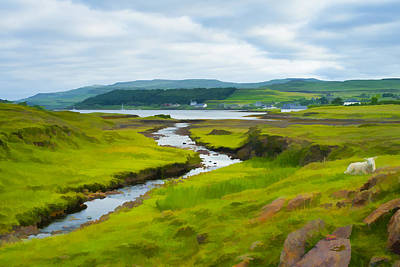Osdale River Leading Into Loch Dunvegan In Scotland Art Print