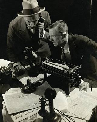 Typewriter Photograph - Osgood Perkins And Lee Tracey Acting by Edward Steichen