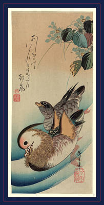 Mandarin Drawing - Oshidori, Mandarin Ducks. Between 1830 And 1858 by Utagawa Hiroshige Also And? Hiroshige (1797-1858), Japanese