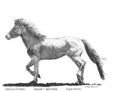 Custom Horse Portrait Drawing - Oshunnah Stepping Out For Freedom by Marianne NANA Betts