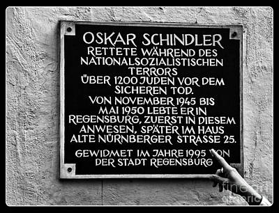 Photograph - Oskar Schindler Memorial In Regensberg Germany by Phil Cardamone