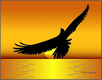Osprey Drawing - Osprey Over Gold Ocean by Fred Croydon