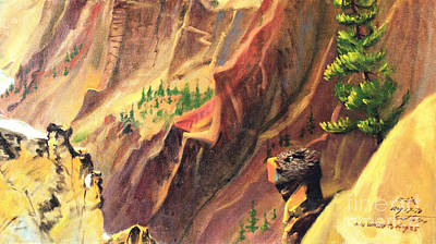 Painting - Osrey's Nest In Yellowstone Canyon by Art By Tolpo Collection