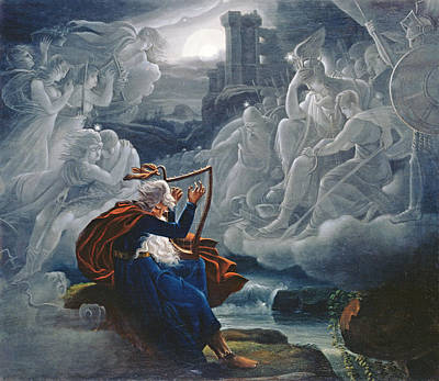 Celtics Photograph - Ossian Conjures Up The Spirits On The Banks Of The River Lorca by Karoly Kisfaludy