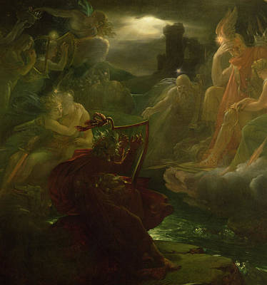 Ossian Conjuring Up The Spirits  Art Print by Francois Pascal Simon Gerard