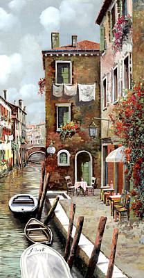 Venice Wall Art - Painting - Osteria Sul Canale by Guido Borelli