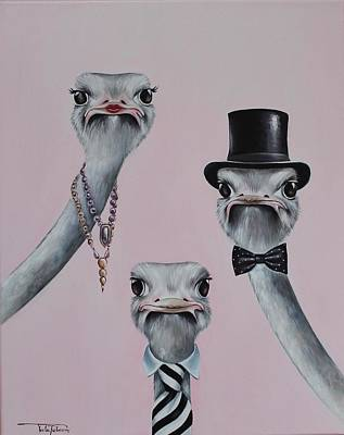 Ostrich Family Original by Rebecca Tecla