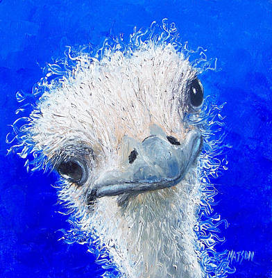 Ostrich Painting - Ostrich Painting 'waldo' By Jan Matson by Jan Matson