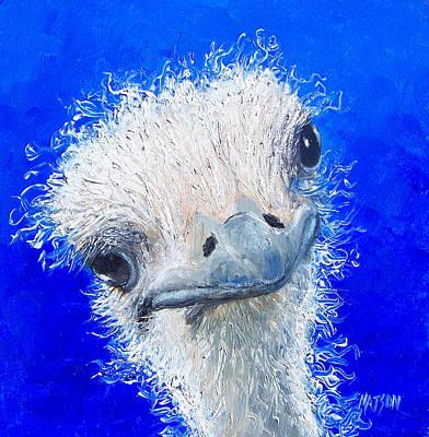 Ostrich Painting 'waldo' By Jan Matson Print by Jan Matson