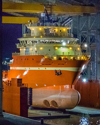 Photograph - Osv In Port Fourchon Drydock by Gregory Daley  PPSA