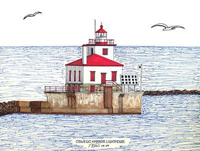 Drawing - Oswego Harbor Lighthouse by Frederic Kohli