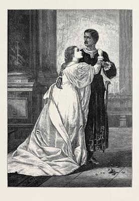 Desdemona Drawing - Othello And Desdemona by Herrick, William Salter (c.1807-1891), British