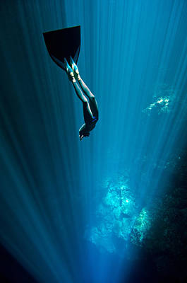 Apnea Photograph - Into The Blue by One ocean One breath