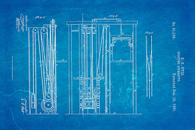 1861 Photograph - Otis Elevator Patent Art 1861 Blueprint by Ian Monk